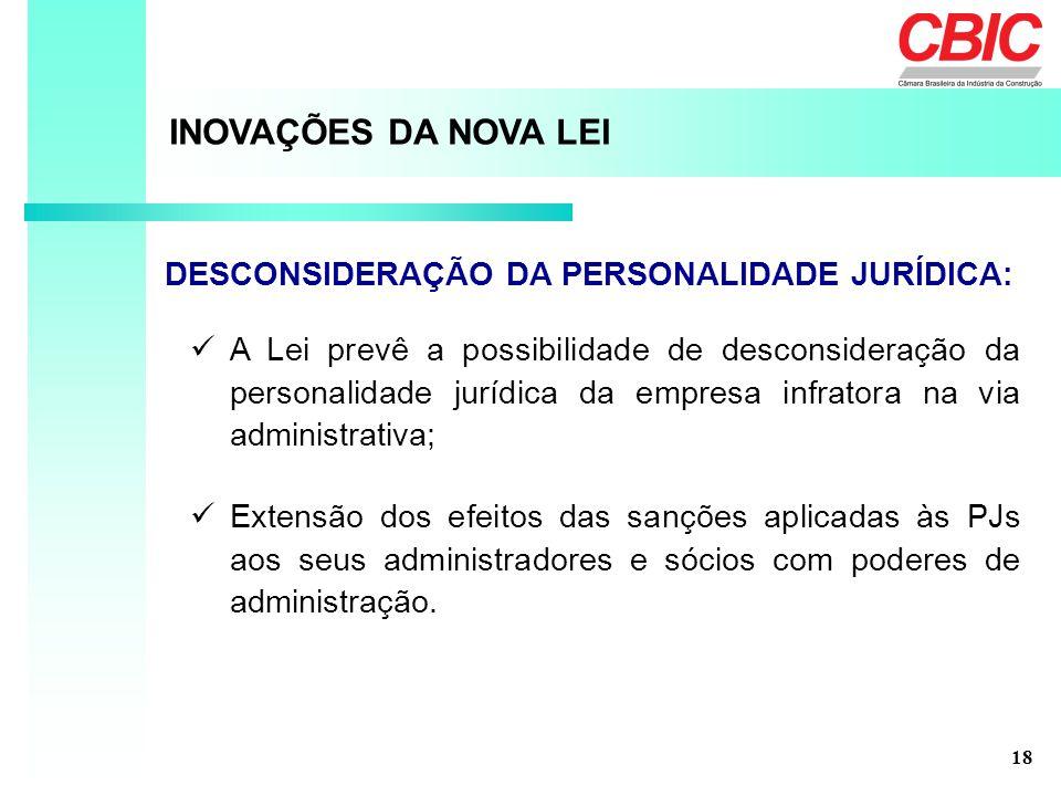 A Lei prevê a possibilidade de desconsideração da personalidade jurídica da empresa infratora na via administrativa; INOVAÇÕES DA NOVA LEI DESCONSIDER