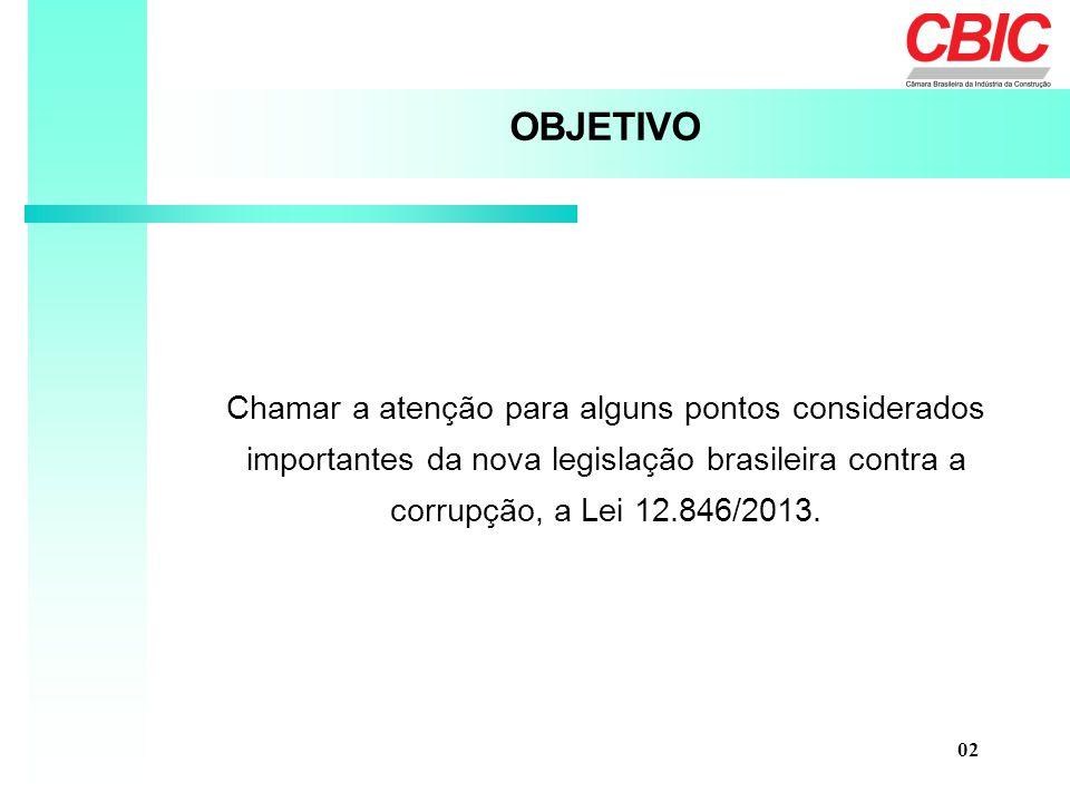 Chamar a atenção para alguns pontos considerados importantes da nova legislação brasileira contra a corrupção, a Lei 12.846/2013. OBJETIVO 02