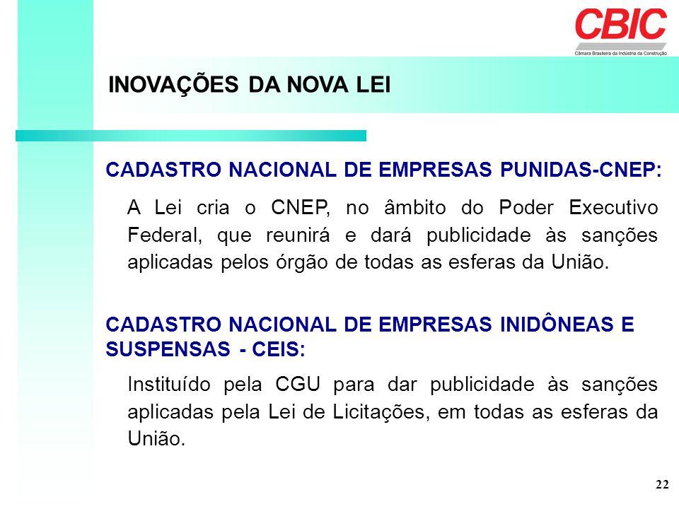 A Lei cria o CNEP, no âmbito do Poder Executivo Federal, que reunirá e dará publicidade às sanções aplicadas pelos órgão de todas as esferas da União.
