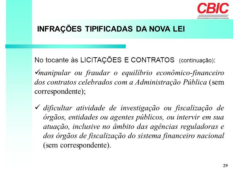 INFRAÇÕES TIPIFICADAS DA NOVA LEI No tocante às LICITAÇÕES E CONTRATOS (continuação) : manipular ou fraudar o equilíbrio econômico-financeiro dos cont