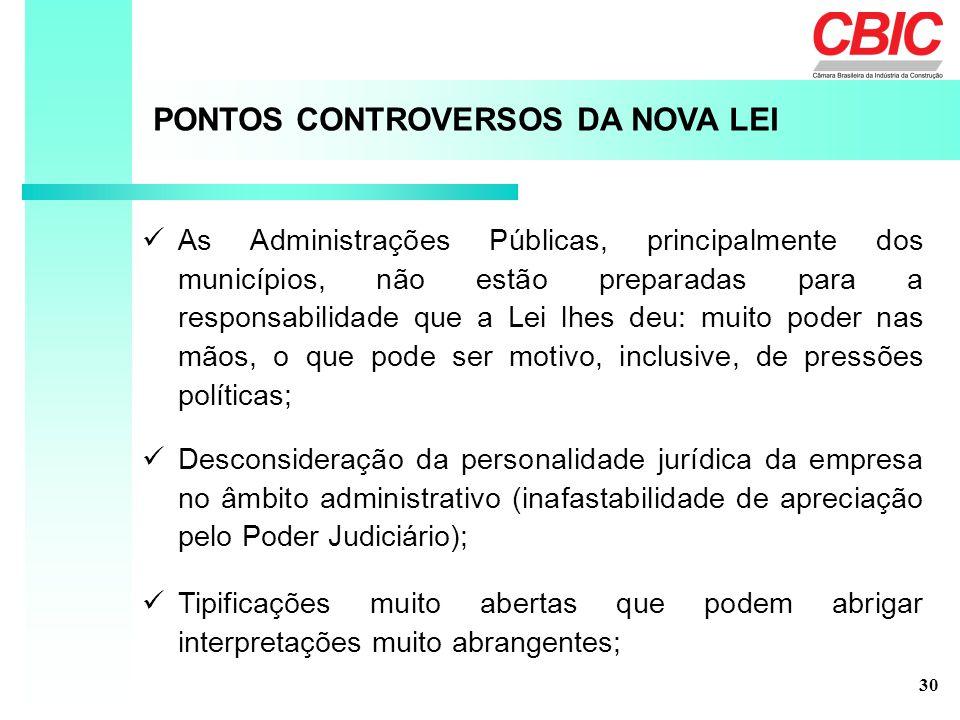 PONTOS CONTROVERSOS DA NOVA LEI As Administrações Públicas, principalmente dos municípios, não estão preparadas para a responsabilidade que a Lei lhes