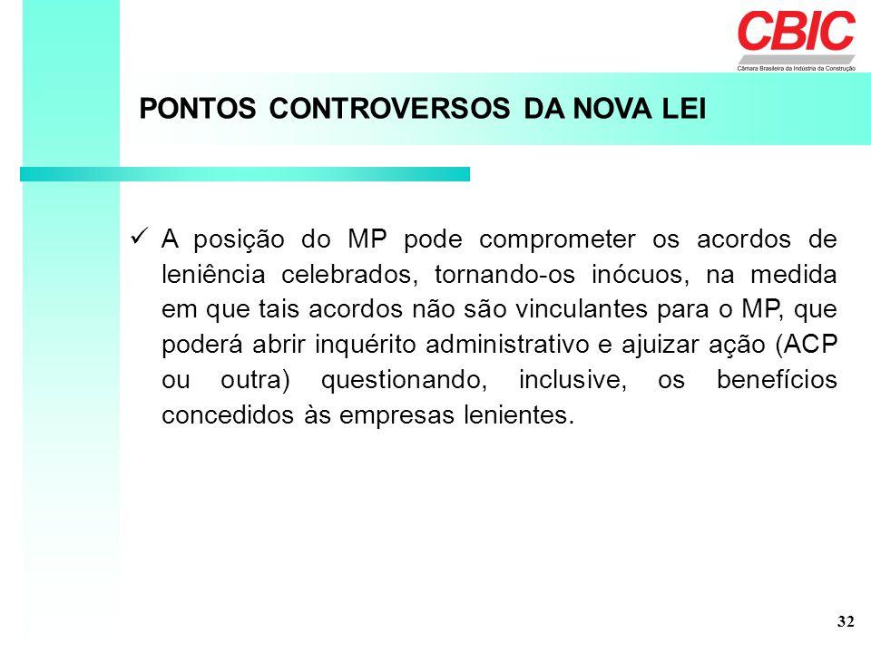 PONTOS CONTROVERSOS DA NOVA LEI A posição do MP pode comprometer os acordos de leniência celebrados, tornando-os inócuos, na medida em que tais acordo
