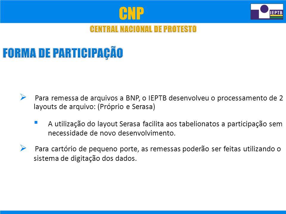  Para remessa de arquivos a BNP, o IEPTB desenvolveu o processamento de 2 layouts de arquivo: (Próprio e Serasa)  A utilização do layout Serasa facilita aos tabelionatos a participação sem necessidade de novo desenvolvimento.