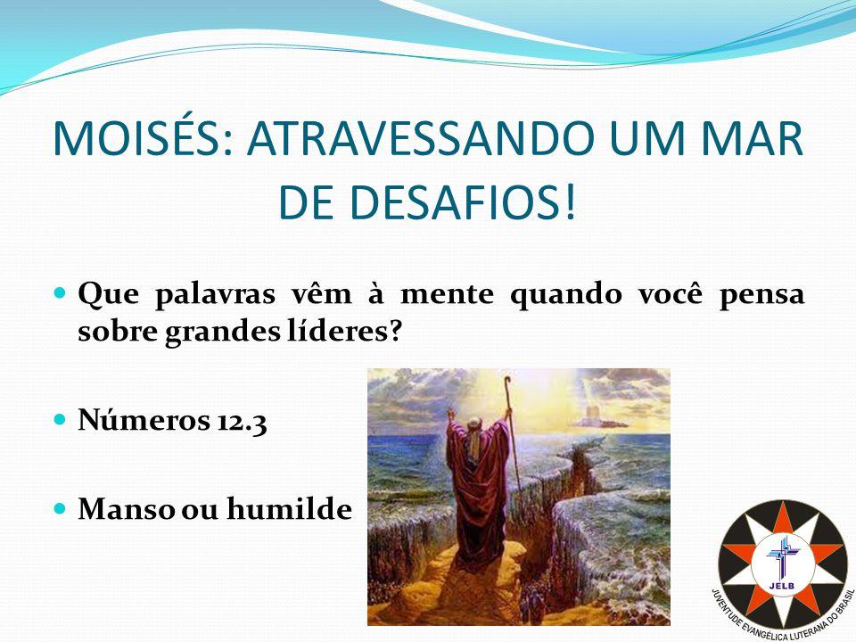MOISÉS: ATRAVESSANDO UM MAR DE DESAFIOS.Moisés certamente não era um líder nato.