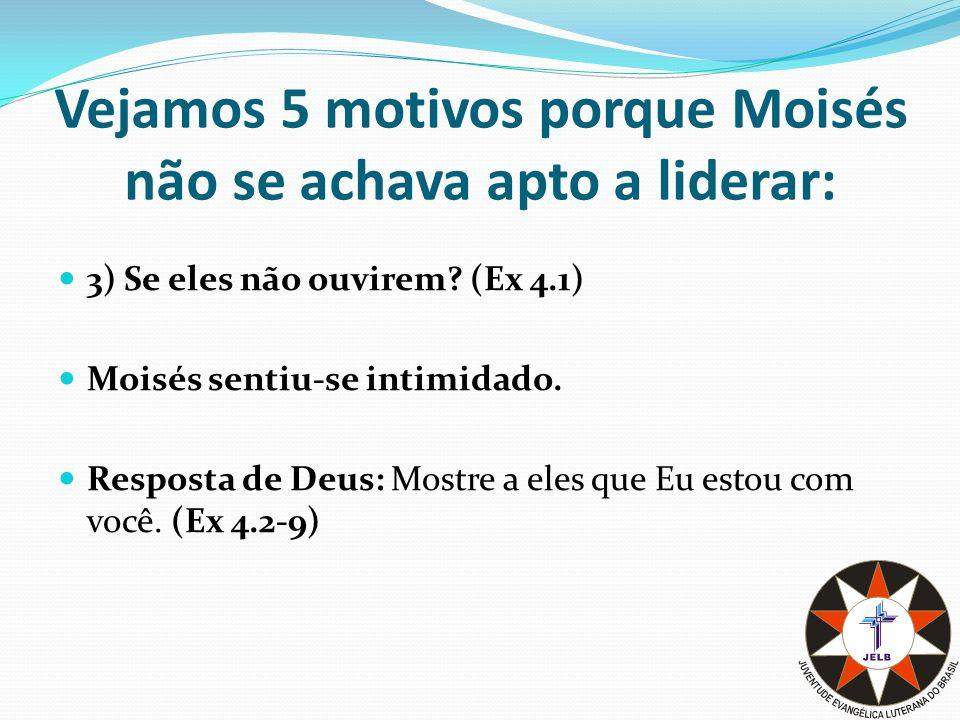 Vejamos 5 motivos porque Moisés não se achava apto a liderar: 4) Eu nunca fui um bom orador (Ex 4.10): Moisés lamentou-se das suas fragilidades.