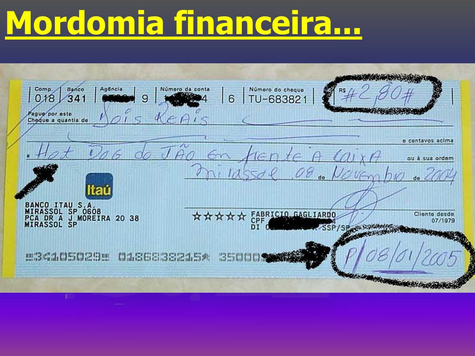 Mordomia financeira...