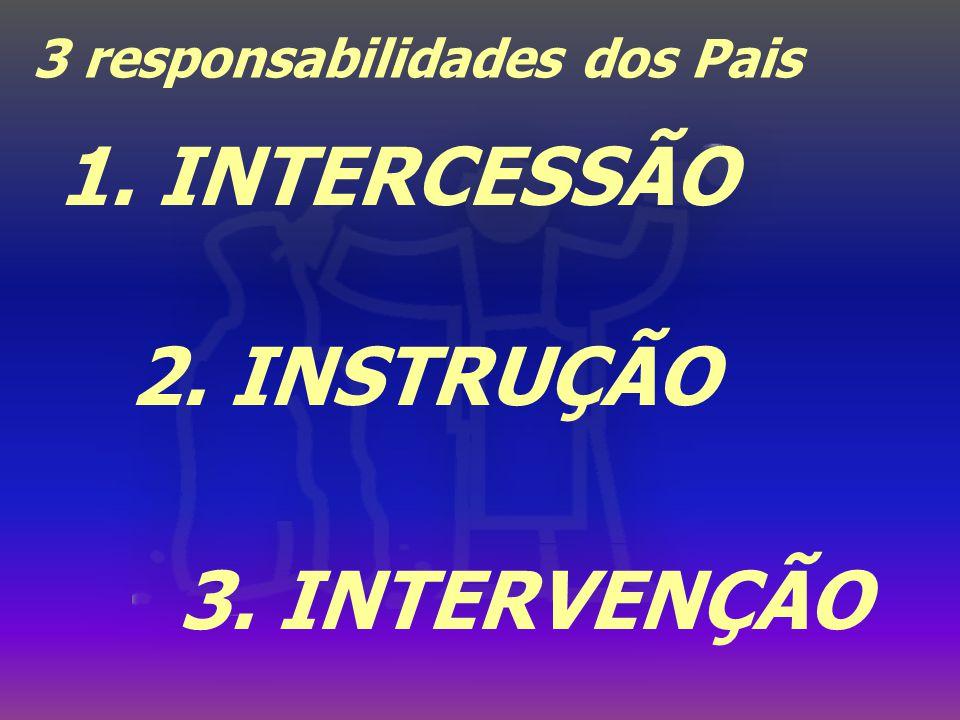 3 responsabilidades dos Pais 2. INSTRUÇÃO 3. INTERVENÇÃO 1. INTERCESSÃO