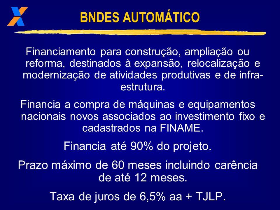 Financiamento de apoio à produção e à comercialização de equipamentos.