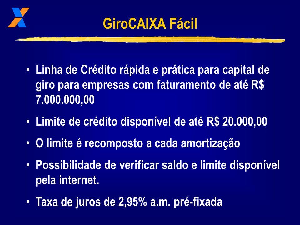 GiroCAIXA Fácil Linha de Crédito rápida e prática para capital de giro para empresas com faturamento de até R$ 7.000.000,00 Limite de crédito disponível de até R$ 20.000,00 O limite é recomposto a cada amortização Possibilidade de verificar saldo e limite disponível pela internet.