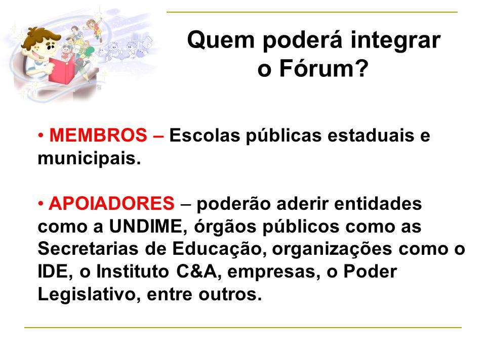 Quem poderá integrar o Fórum. MEMBROS – Escolas públicas estaduais e municipais.