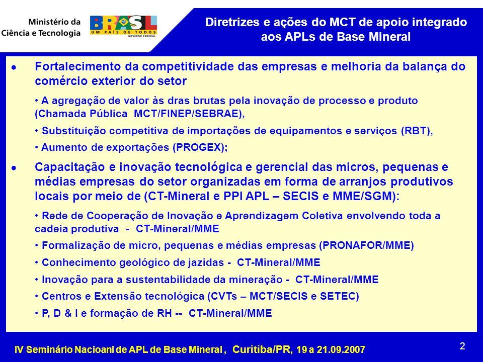 IV Seminário Nacioanl de APL de Base Mineral, Curitiba/PR, 19 a 21.09.2007 2 Diretrizes e ações do MCT de apoio integrado aos APLs de Base Mineral ● Fortalecimento da competitividade das empresas e melhoria da balança do comércio exterior do setor A agregação de valor às dras brutas pela inovação de processo e produto (Chamada Pública MCT/FINEP/SEBRAE), Substituição competitiva de importações de equipamentos e serviços (RBT), Aumento de exportações (PROGEX); ● Capacitação e inovação tecnológica e gerencial das micros, pequenas e médias empresas do setor organizadas em forma de arranjos produtivos locais por meio de (CT-Mineral e PPI APL – SECIS e MME/SGM): Rede de Cooperação de Inovação e Aprendizagem Coletiva envolvendo toda a cadeia produtiva - CT-Mineral/MME Formalização de micro, pequenas e médias empresas (PRONAFOR/MME) Conhecimento geológico de jazidas - CT-Mineral/MME Inovação para a sustentabilidade da mineração - CT-Mineral/MME Centros e Extensão tecnológica (CVTs – MCT/SECIS e SETEC) P, D & I e formação de RH -- CT-Mineral/MME