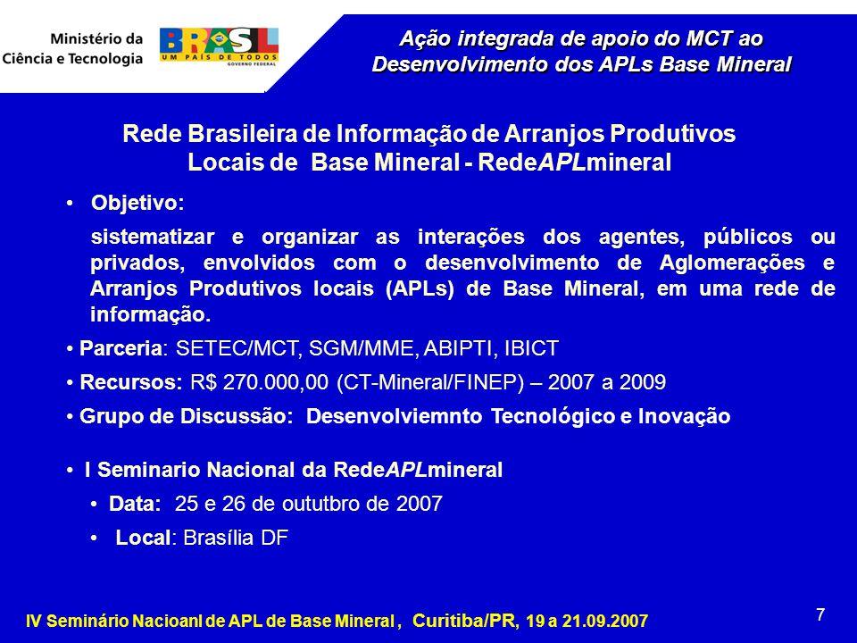 IV Seminário Nacioanl de APL de Base Mineral, Curitiba/PR, 19 a 21.09.2007 7 Ação integrada de apoio do MCT ao Desenvolvimento dos APLs Base Mineral Rede Brasileira de Informação de Arranjos Produtivos Locais de Base Mineral - RedeAPLmineral Objetivo: sistematizar e organizar as interações dos agentes, públicos ou privados, envolvidos com o desenvolvimento de Aglomerações e Arranjos Produtivos locais (APLs) de Base Mineral, em uma rede de informação.