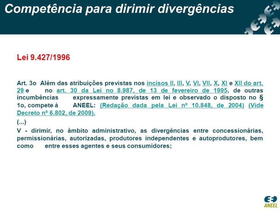 Competência para dirimir divergências Lei 9.427/1996 Art. 3o Além das atribuições previstas nos incisos II, III, V, VI, VII, X, XI e XII do art. 29 e