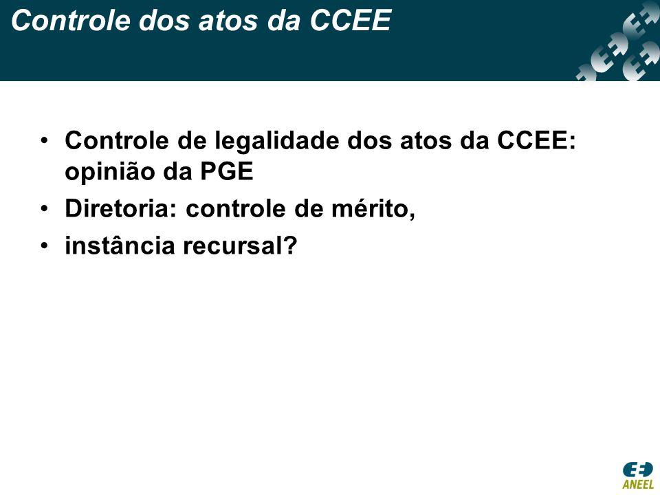 Controle dos atos da CCEE Controle de legalidade dos atos da CCEE: opinião da PGE Diretoria: controle de mérito, instância recursal?