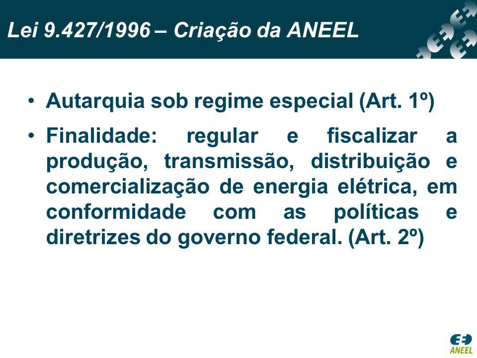 Autarquia sob regime especial (Art. 1º) Finalidade: regular e fiscalizar a produção, transmissão, distribuição e comercialização de energia elétrica,