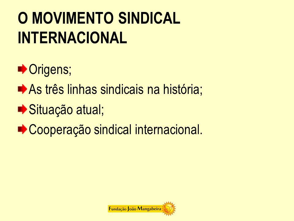 O MOVIMENTO SINDICAL INTERNACIONAL Origens; As três linhas sindicais na história; Situação atual; Cooperação sindical internacional.