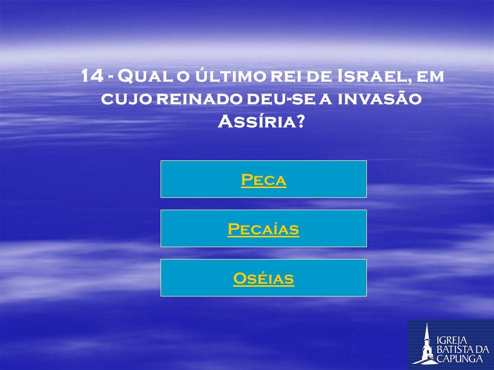 13 - Que Rei em Israel, descendente de Jeú, reinou mais tempo que Davi? Jeroboão II Jeroboão Zacarias