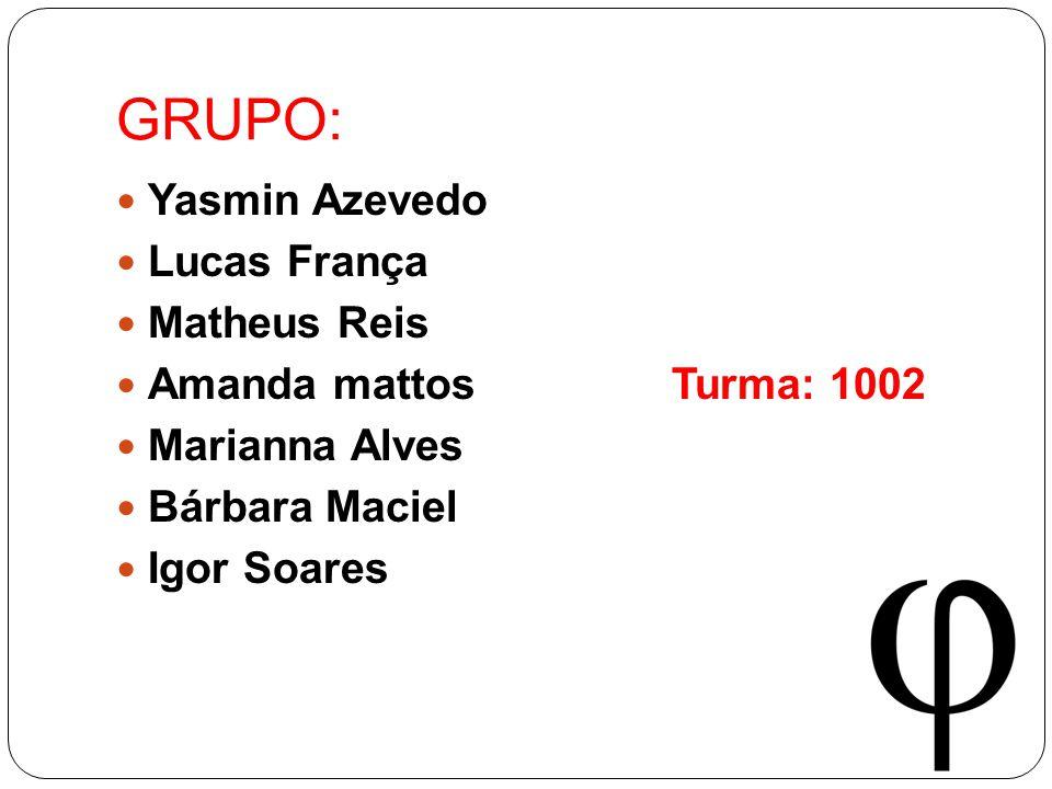 GRUPO: Yasmin Azevedo Lucas França Matheus Reis Amanda mattos Turma: 1002 Marianna Alves Bárbara Maciel Igor Soares