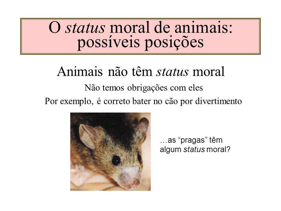 O status moral de animais: possíveis posições Animais não têm status moral Não temos obrigações com eles Por exemplo, é correto bater no cão por divertimento …as pragas têm algum status moral?