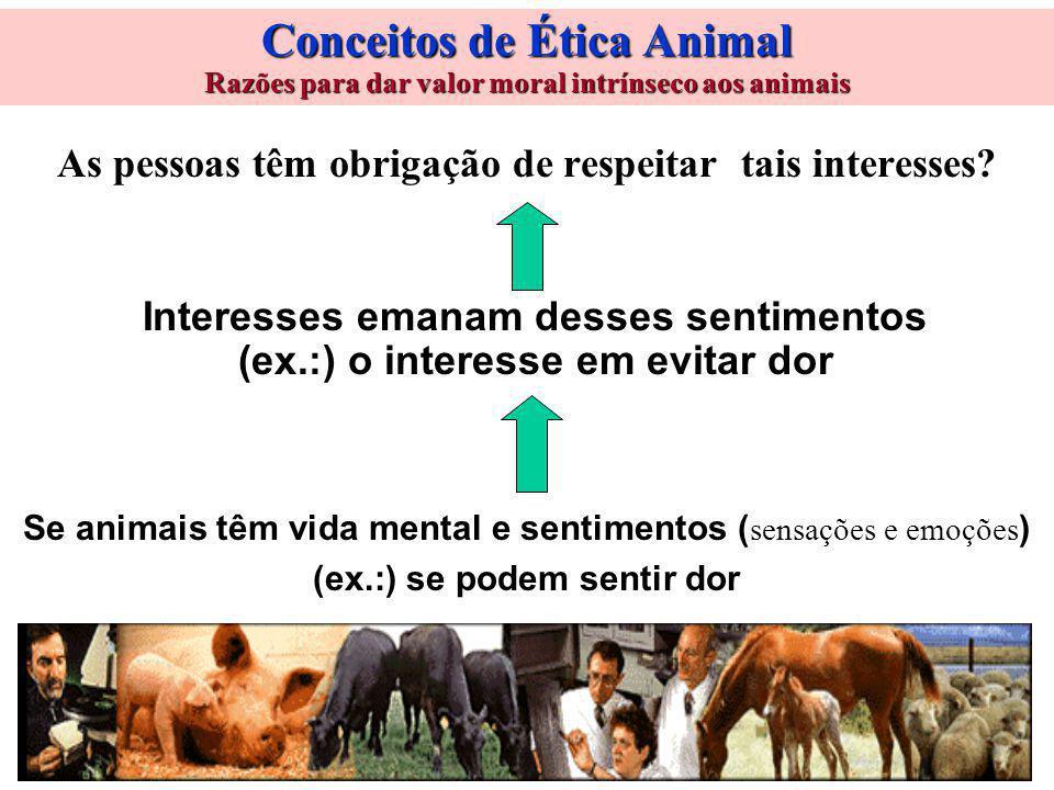 Conceitos de Ética Animal Razões para dar valor moral intrínseco aos animais As pessoas têm obrigação de respeitar tais interesses.