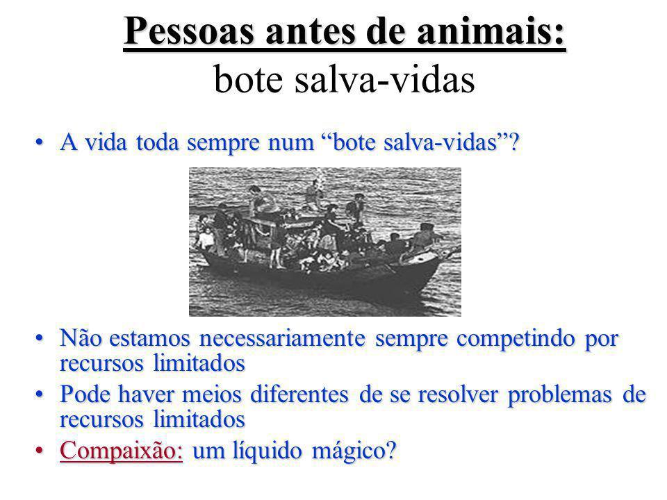 Pessoas antes de animais: Pessoas antes de animais: bote salva-vidas A vida toda sempre num bote salva-vidas ?A vida toda sempre num bote salva-vidas .