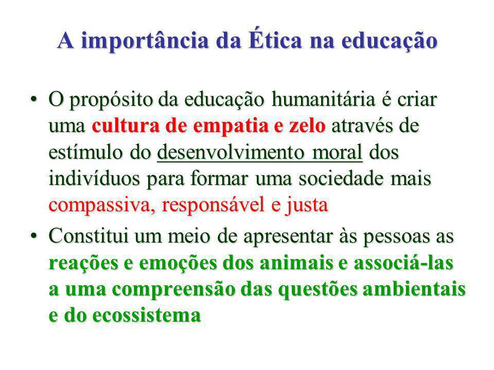 A importância da Ética na educação O propósito da educação humanitária é criar uma cultura de empatia e zelo através de estímulo do desenvolvimento moral dos indivíduos para formar uma sociedade mais compassiva, responsável e justaO propósito da educação humanitária é criar uma cultura de empatia e zelo através de estímulo do desenvolvimento moral dos indivíduos para formar uma sociedade mais compassiva, responsável e justa Constitui um meio de apresentar às pessoas as reações e emoções dos animais e associá-las a uma compreensão das questões ambientais e do ecossistemaConstitui um meio de apresentar às pessoas as reações e emoções dos animais e associá-las a uma compreensão das questões ambientais e do ecossistema