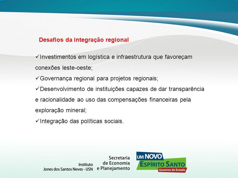Investimentos em logística e infraestrutura que favoreçam conexões leste-oeste; Governança regional para projetos regionais; Desenvolvimento de instit