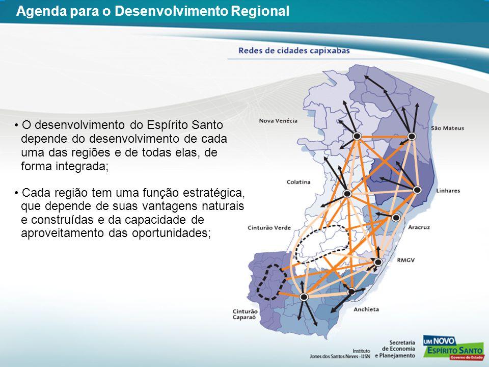 O desenvolvimento do Espírito Santo depende do desenvolvimento de cada uma das regiões e de todas elas, de forma integrada; Cada região tem uma função