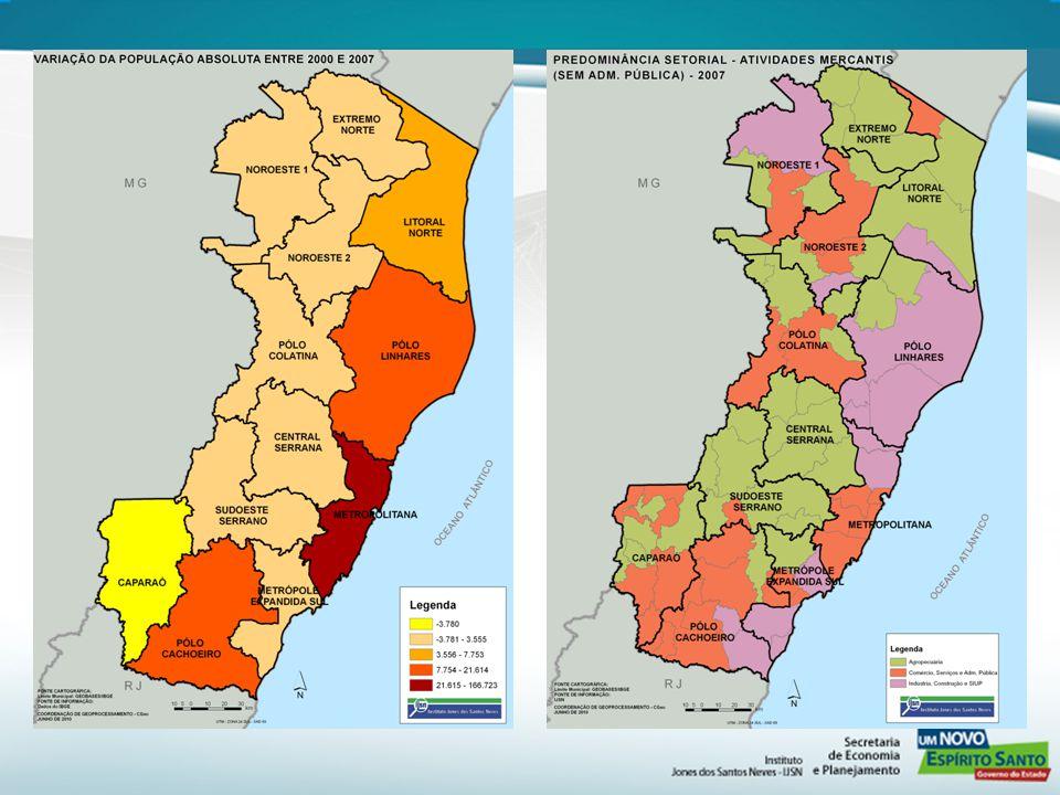 Fonte: SESA/ES Tabelas com dados das microrregioes Fonte: Mapa da Pobreza e Desigualdade 2003, IBGE.