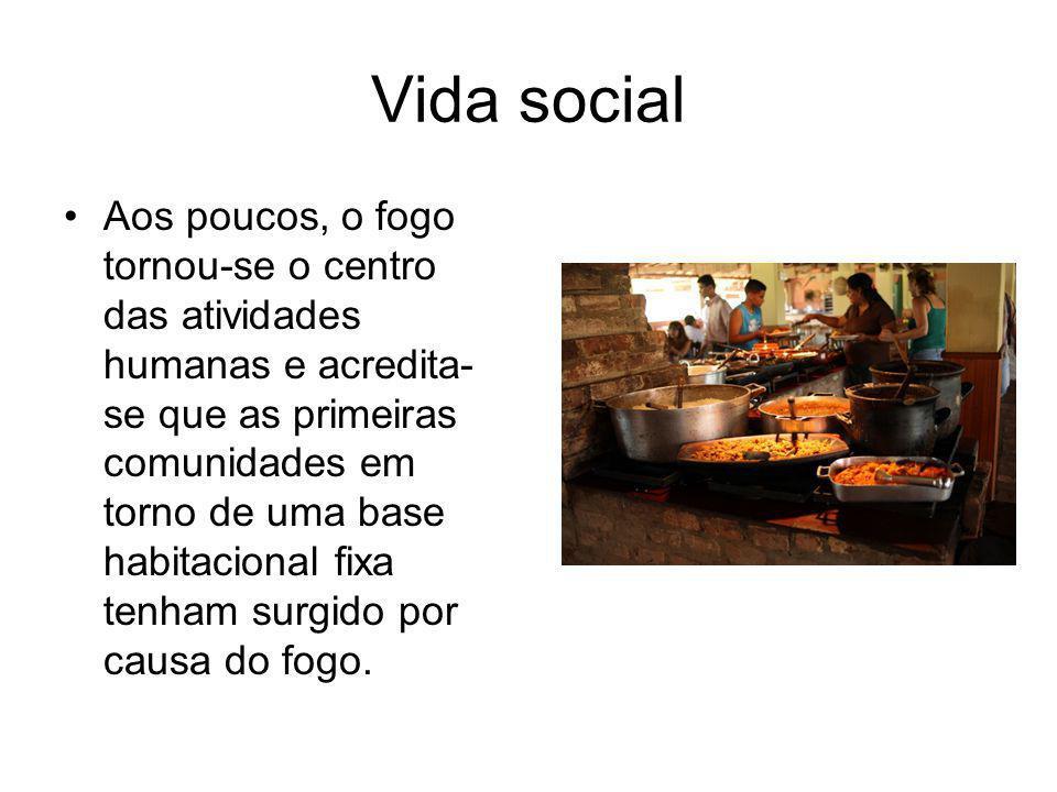 Vida social Aos poucos, o fogo tornou-se o centro das atividades humanas e acredita- se que as primeiras comunidades em torno de uma base habitacional