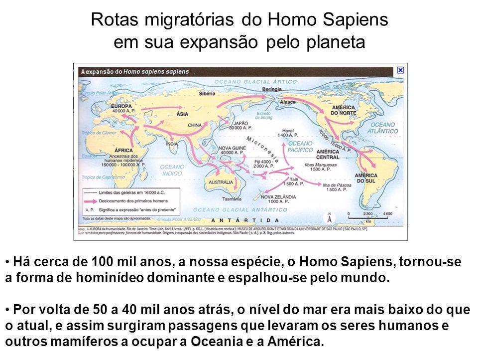 Rotas migratórias do Homo Sapiens em sua expansão pelo planeta Há cerca de 100 mil anos, a nossa espécie, o Homo Sapiens, tornou-se a forma de hominíd