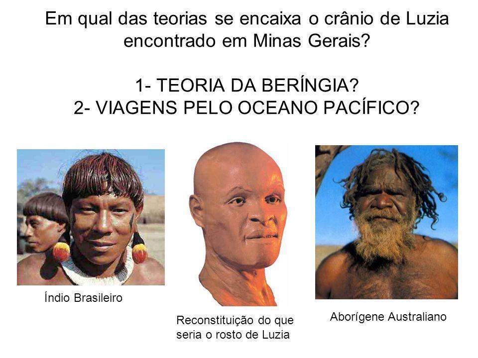 Em qual das teorias se encaixa o crânio de Luzia encontrado em Minas Gerais? 1- TEORIA DA BERÍNGIA? 2- VIAGENS PELO OCEANO PACÍFICO? Índio Brasileiro