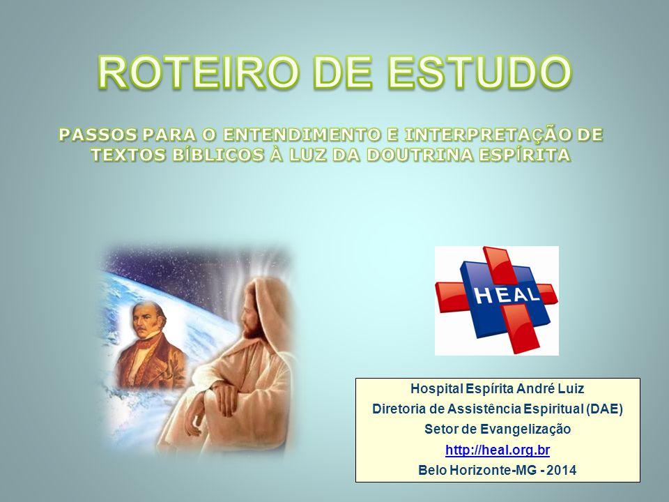 Hospital Espírita André Luiz Diretoria de Assistência Espiritual (DAE) Setor de Evangelização http://heal.org.br Belo Horizonte-MG - 2014