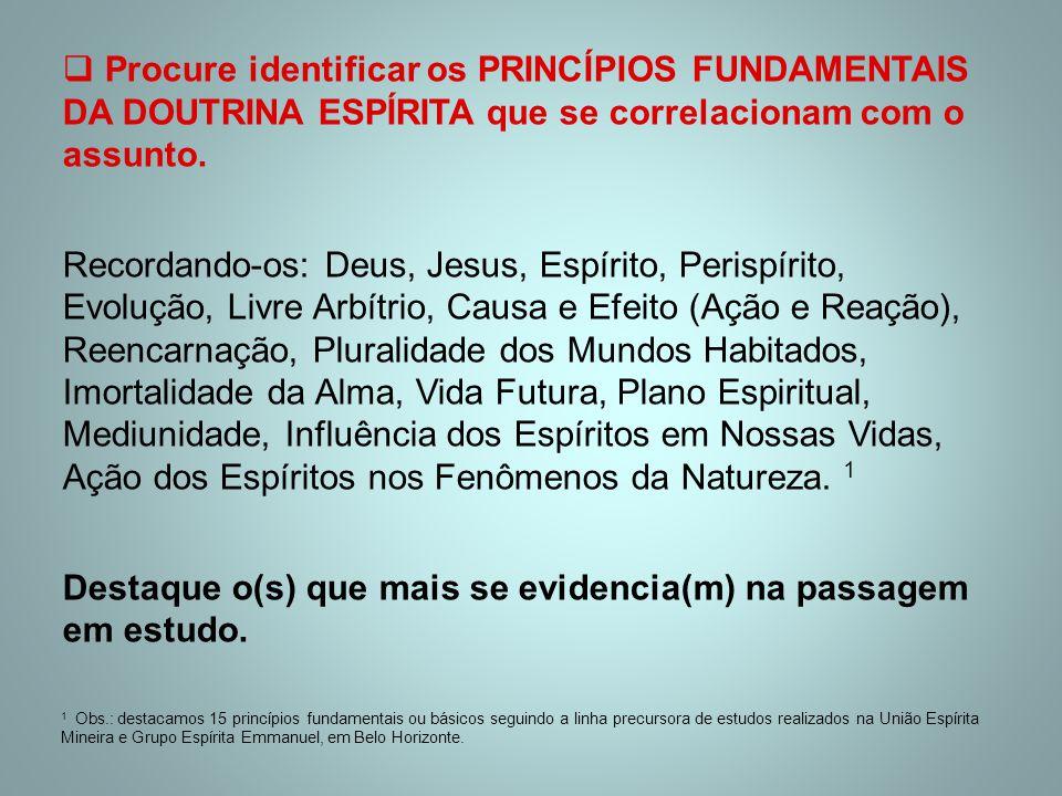  Procure identificar os PRINCÍPIOS FUNDAMENTAIS DA DOUTRINA ESPÍRITA que se correlacionam com o assunto. Recordando-os: Deus, Jesus, Espírito, Perisp