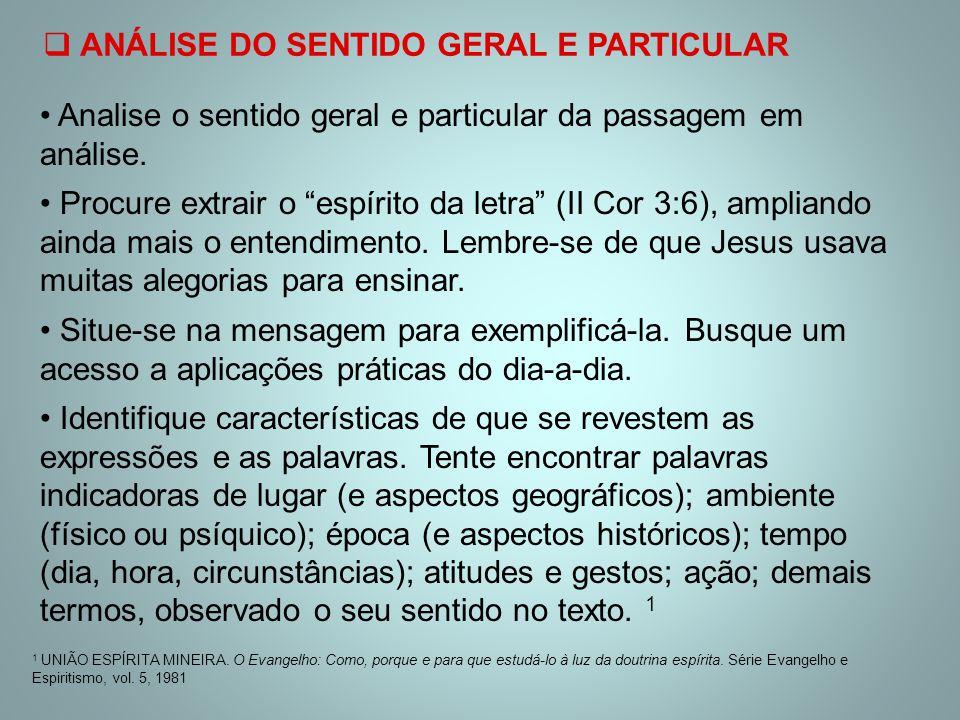  ANÁLISE DO SENTIDO GERAL E PARTICULAR 1 UNIÃO ESPÍRITA MINEIRA. O Evangelho: Como, porque e para que estudá-lo à luz da doutrina espírita. Série Eva