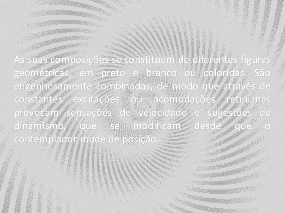 As suas composições se constituem de diferentes figuras geométricas, em preto e branco ou coloridas. São engenhosamente combinadas, de modo que atravé