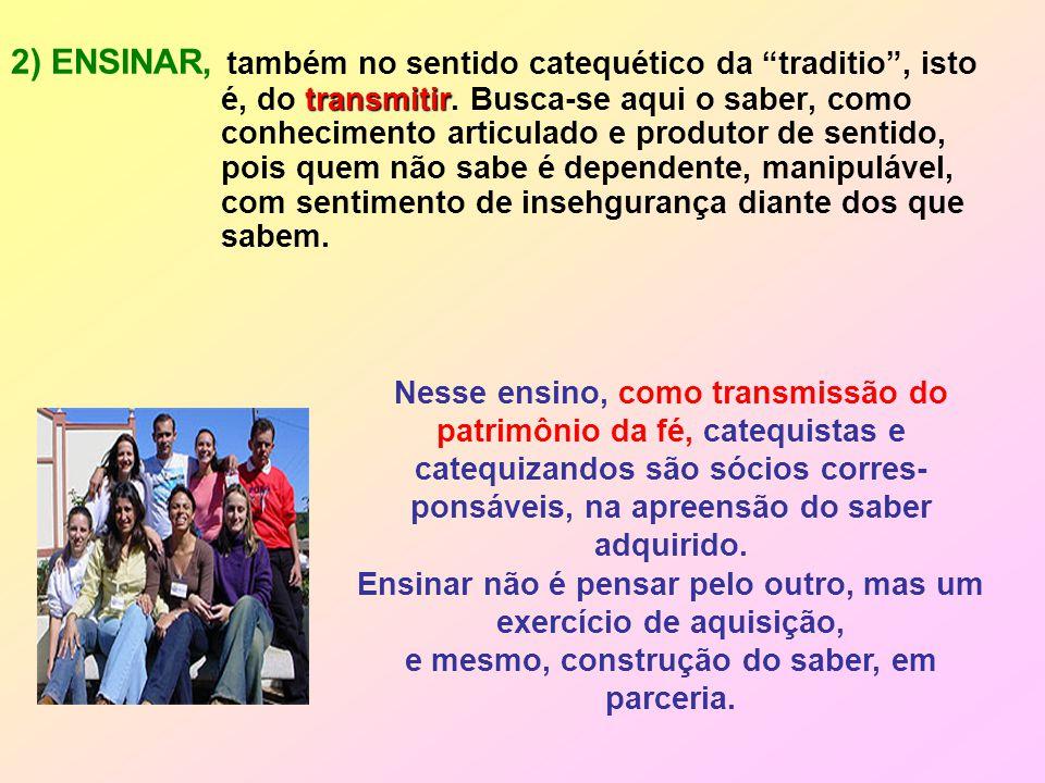 transmitir 2) ENSINAR, também no sentido catequético da traditio , isto é, do transmitir.
