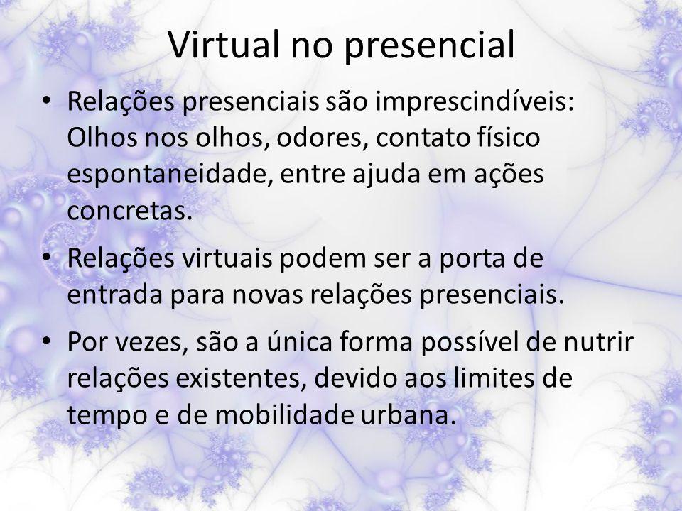 Virtual no presencial Relações presenciais são imprescindíveis: Olhos nos olhos, odores, contato físico espontaneidade, entre ajuda em ações concretas.
