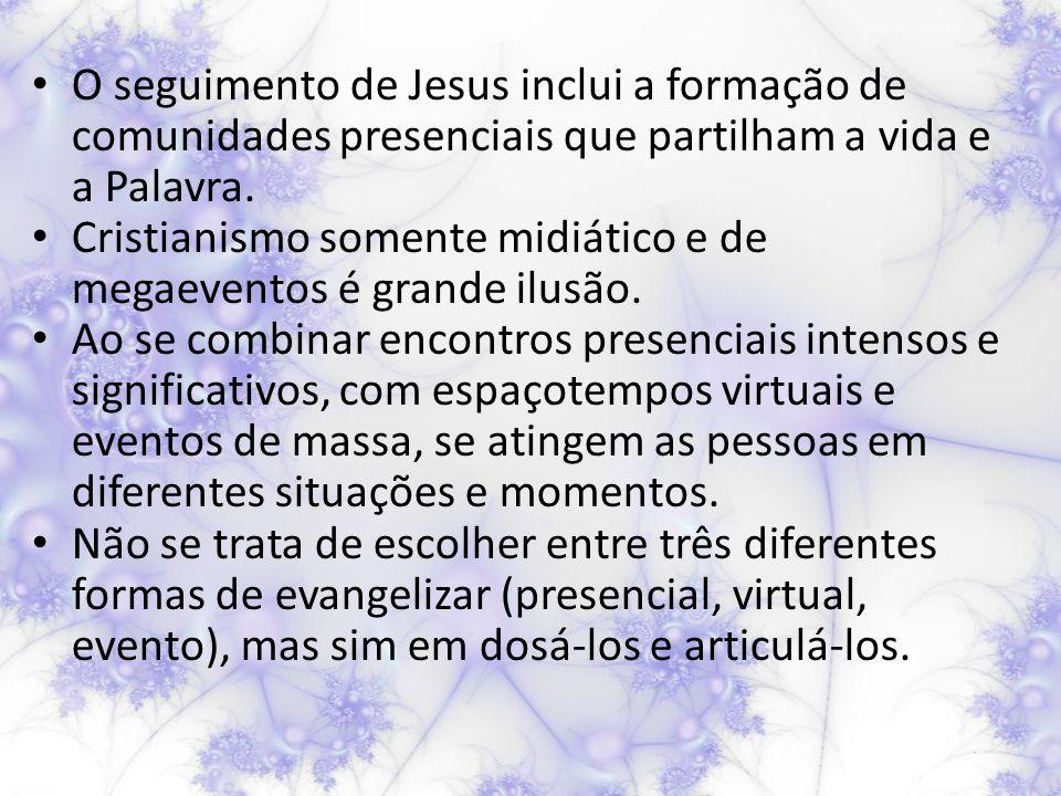 O seguimento de Jesus inclui a formação de comunidades presenciais que partilham a vida e a Palavra.