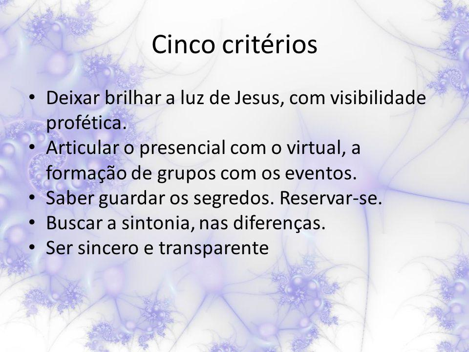 Cinco critérios Deixar brilhar a luz de Jesus, com visibilidade profética.