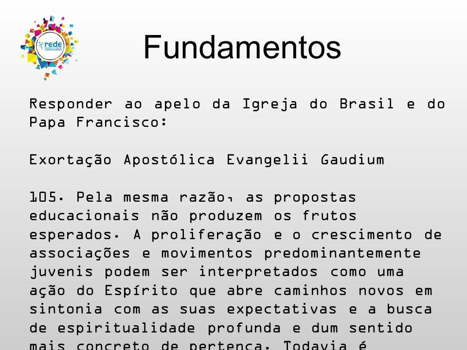 Fundamentos Responder ao apelo da Igreja do Brasil e do Papa Francisco: Exortação Apostólica Evangelii Gaudium 105. Pela mesma razão, as propostas edu