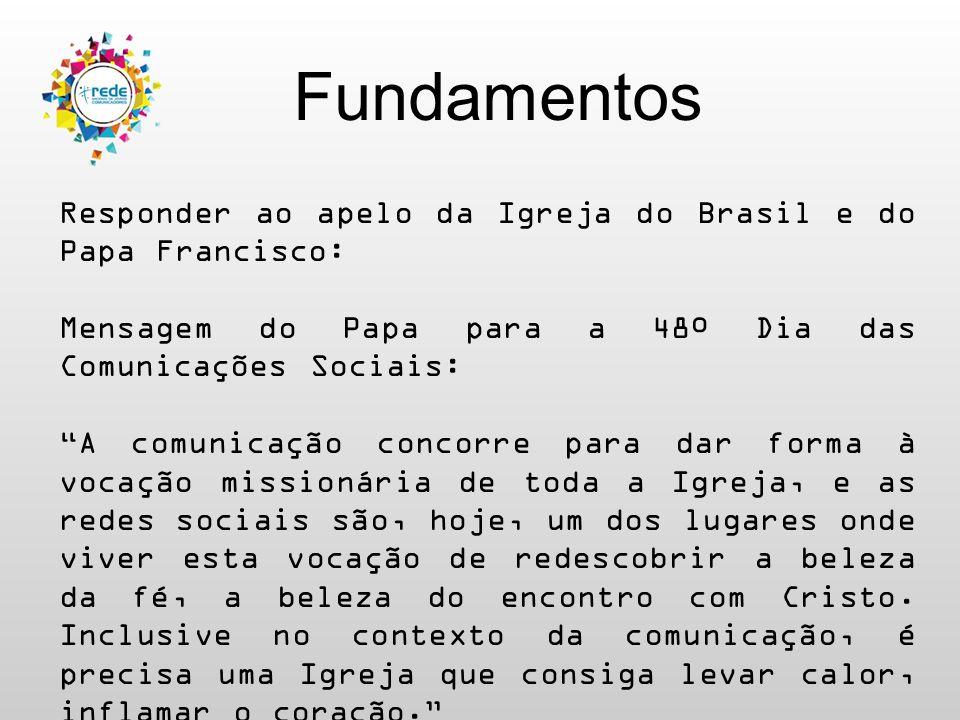 """Fundamentos Responder ao apelo da Igreja do Brasil e do Papa Francisco: Mensagem do Papa para a 48º Dia das Comunicações Sociais: """"A comunicação conco"""