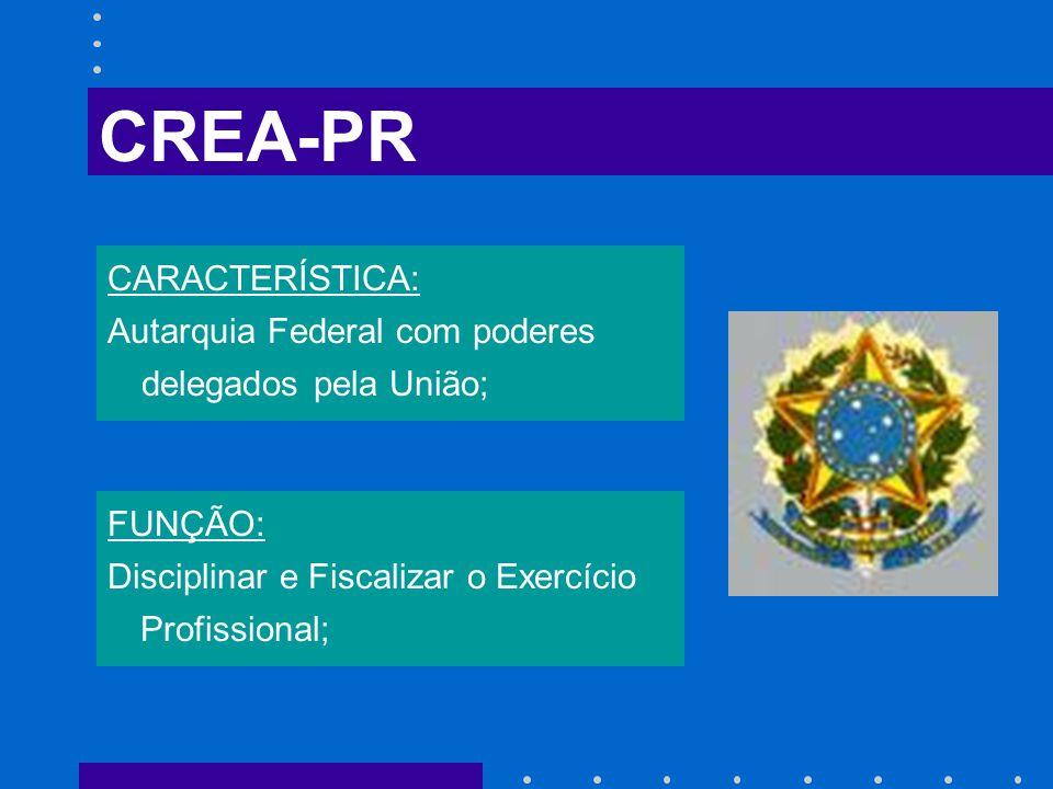 FUNÇÃO: Disciplinar e Fiscalizar o Exercício Profissional; CARACTERÍSTICA: Autarquia Federal com poderes delegados pela União; CREA-PR