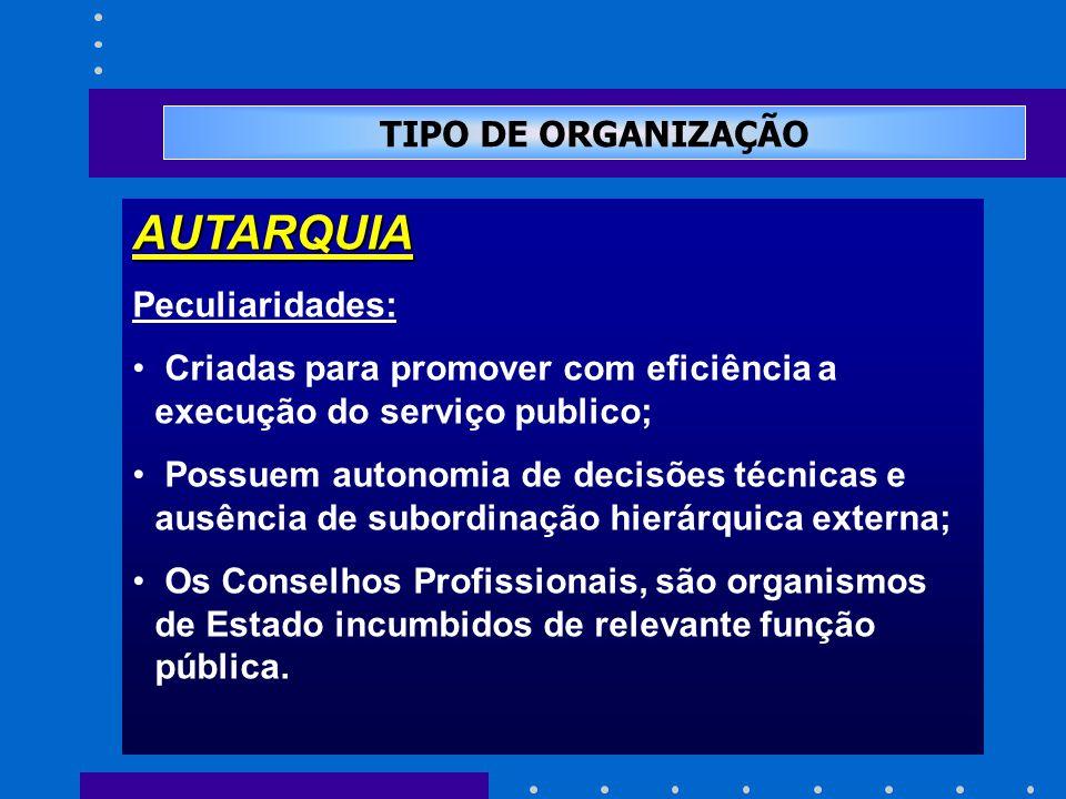 TIPO DE ORGANIZAÇÃO AUTARQUIA Peculiaridades: Criadas para promover com eficiência a execução do serviço publico; Possuem autonomia de decisões técnicas e ausência de subordinação hierárquica externa; Os Conselhos Profissionais, são organismos de Estado incumbidos de relevante função pública.