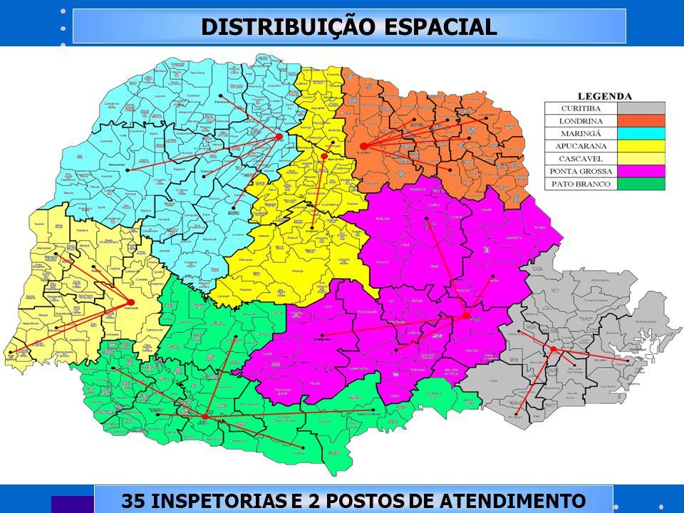 DISTRIBUIÇÃO ESPACIAL 35 INSPETORIAS E 2 POSTOS DE ATENDIMENTO