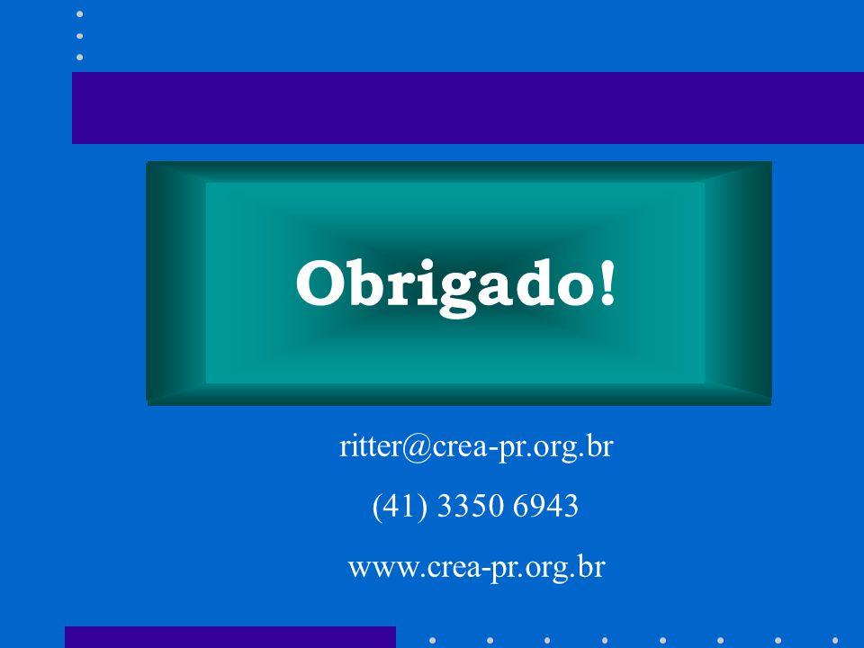 Obrigado! ritter@crea-pr.org.br (41) 3350 6943 www.crea-pr.org.br