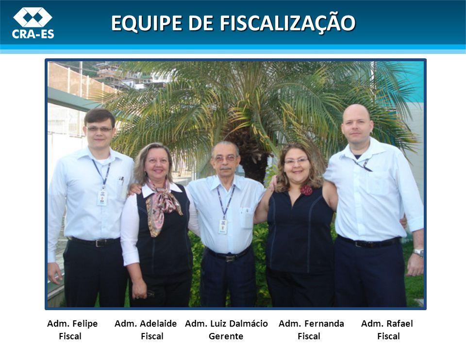 Adm. Felipe Adm. Adelaide Adm. Luiz Dalmácio Adm. Fernanda Adm. Rafael Fiscal Fiscal Gerente Fiscal Fiscal EQUIPE DE FISCALIZAÇÃO