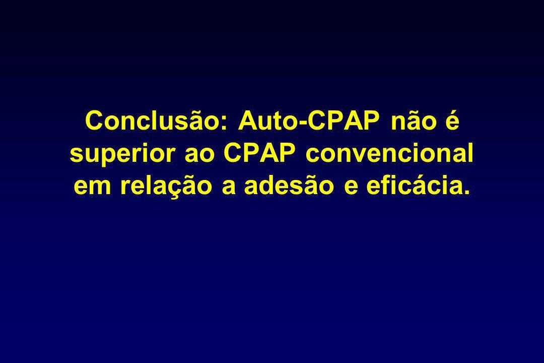 Conclusão: Auto-CPAP não é superior ao CPAP convencional em relação a adesão e eficácia.