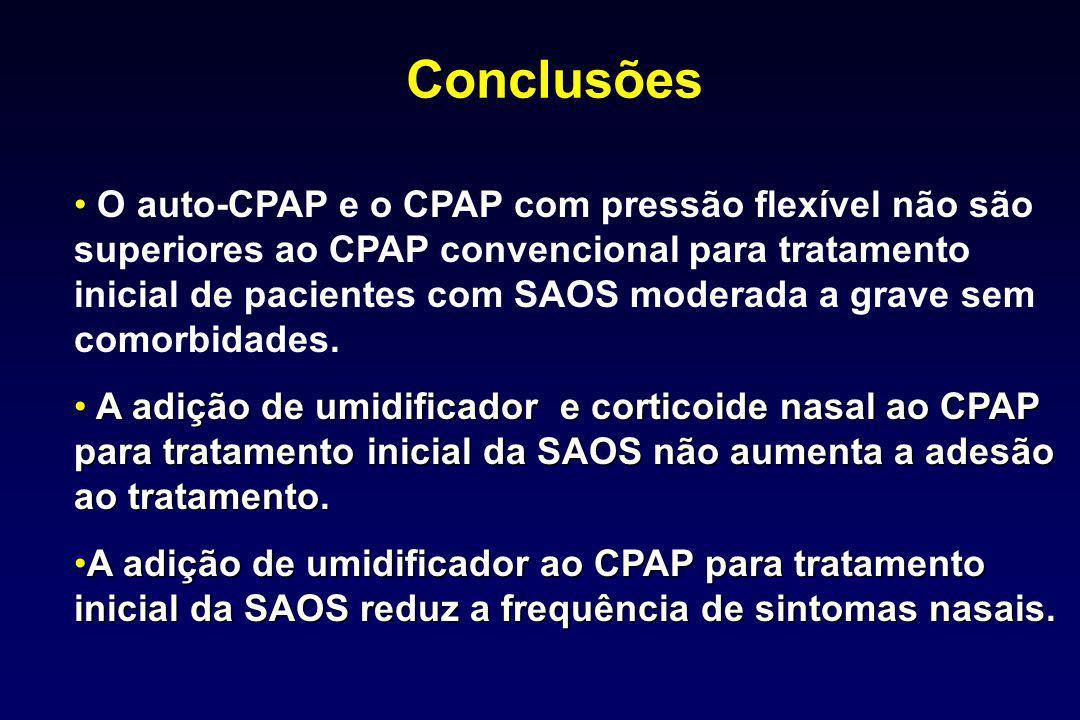 Conclusões O auto-CPAP e o CPAP com pressão flexível não são superiores ao CPAP convencional para tratamento inicial de pacientes com SAOS moderada a