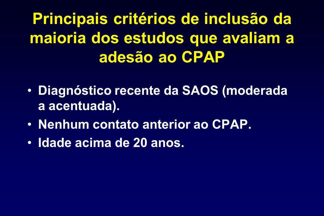 Principais critérios de inclusão da maioria dos estudos que avaliam a adesão ao CPAP Diagnóstico recente da SAOS (moderada a acentuada). Nenhum contat